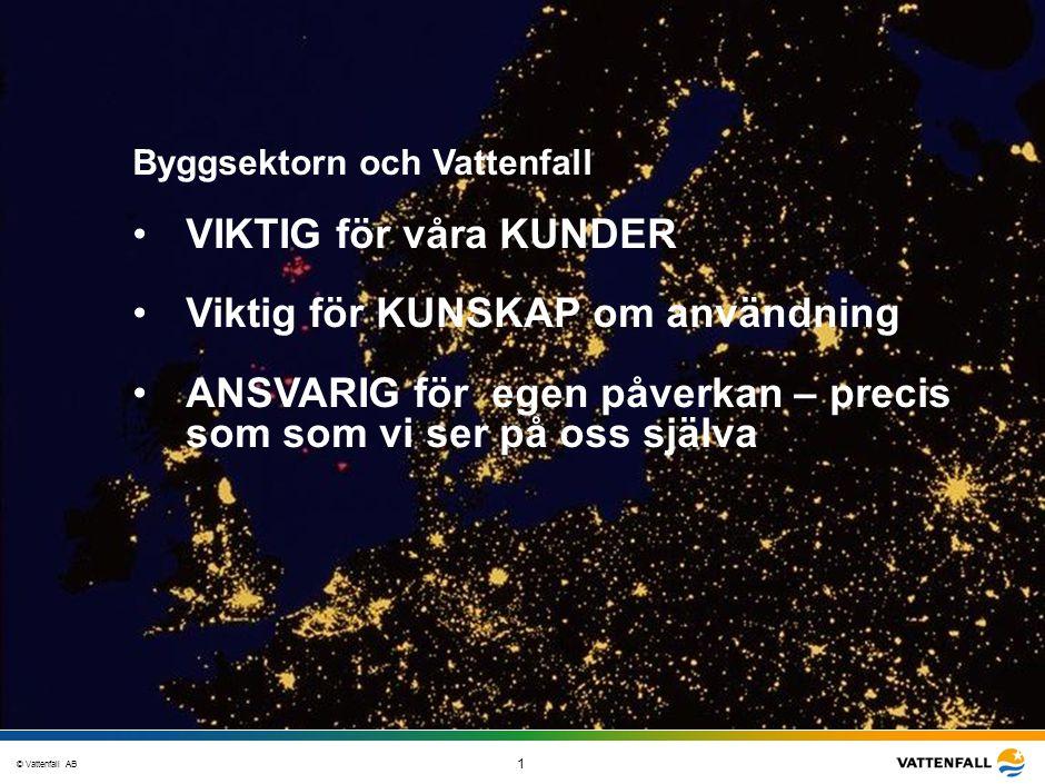 © Vattenfall AB 1 STO-STV080-20070108-A1-GlobalMappingOfGGAO_FINAL Byggsektorn och Vattenfall VIKTIG för våra KUNDER Viktig för KUNSKAP om användning