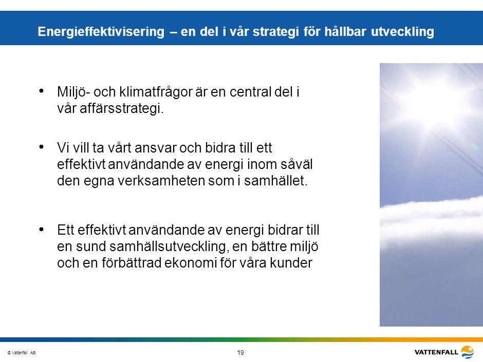 © Vattenfall AB 19 STO-STV080-20070108-A1-GlobalMappingOfGGAO_FINAL Miljö- och klimatfrågor är en central del i vår affärsstrategi. Energieffektiviser