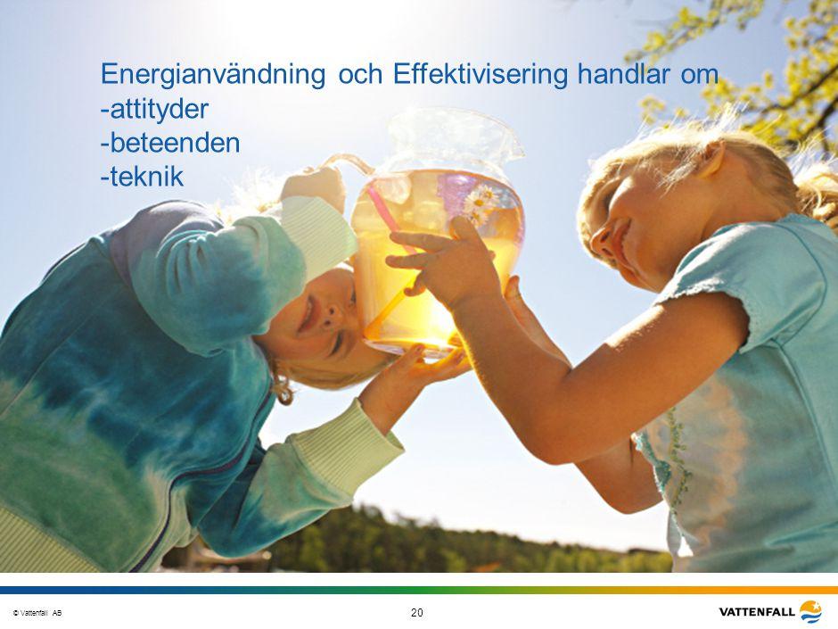 © Vattenfall AB 20 STO-STV080-20070108-A1-GlobalMappingOfGGAO_FINAL Energianvändning och Effektivisering handlar om -attityder -beteenden -teknik