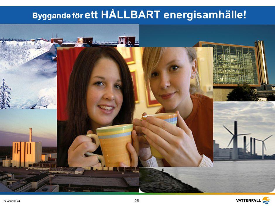 © Vattenfall AB 25 STO-STV080-20070108-A1-GlobalMappingOfGGAO_FINAL Byggande för ett HÅLLBART energisamhälle!