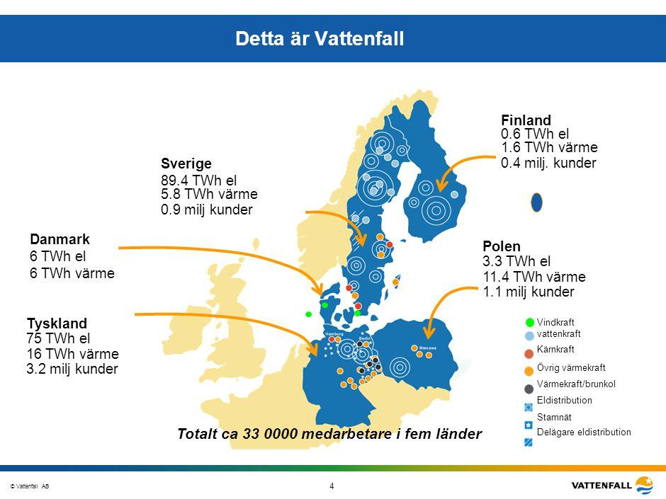 © Vattenfall AB 4 STO-STV080-20070108-A1-GlobalMappingOfGGAO_FINAL Detta är Vattenfall Vattenkraft Kärnkraft Värmekraft/övrigt Värmekraft/brunkol Dist