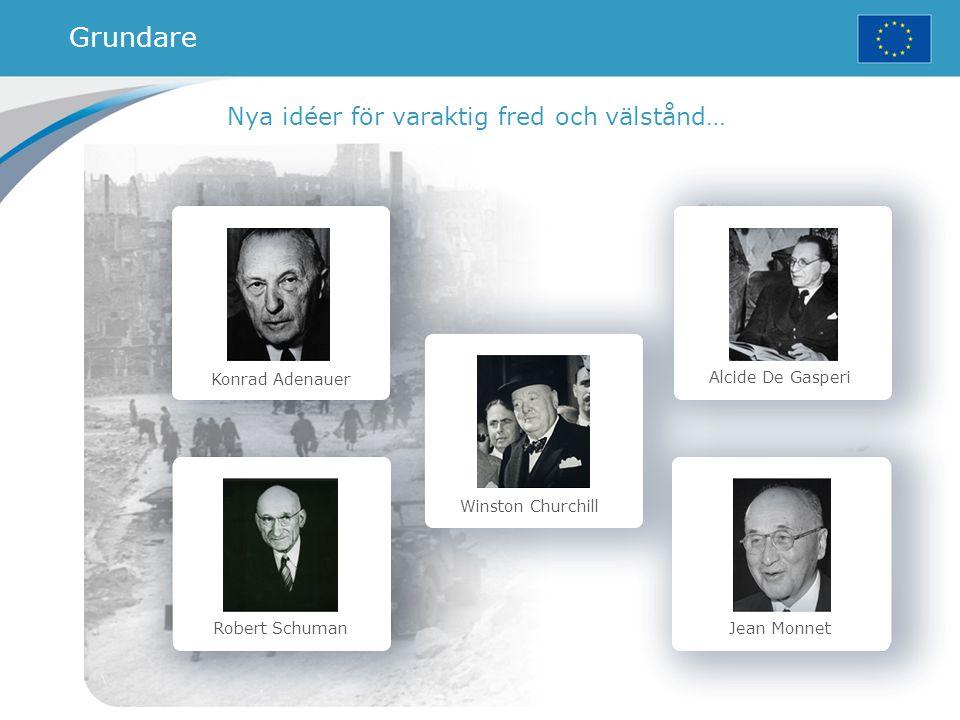 Konrad Adenauer Robert Schuman Winston Churchill Alcide De Gasperi Jean Monnet Nya idéer för varaktig fred och välstånd… Grundare