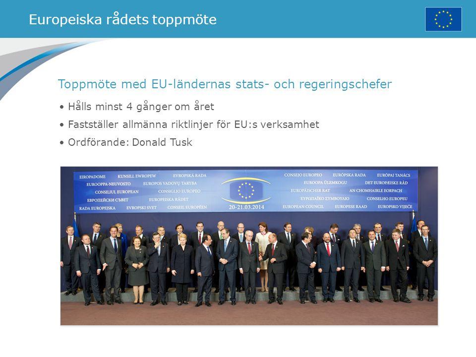 Europeiska rådets toppmöte Hålls minst 4 gånger om året Fastställer allmänna riktlinjer för EU:s verksamhet Ordförande: Donald Tusk Toppmöte med EU-lä