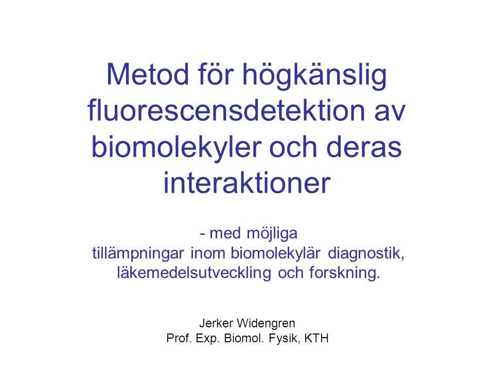 Innehåll: Fluorescens Fluorescensinformation, dimensioner Fluorescens, biomolekylär monitorering Ytterligare fluorescensinfo Nytt koncept
