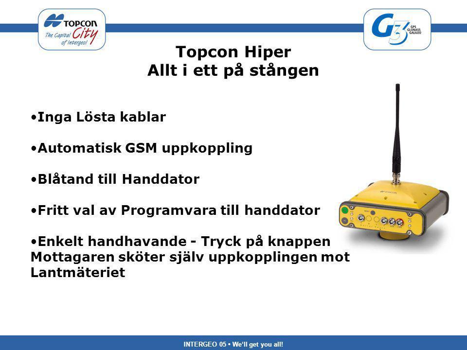 INTERGEO 05 We'll get you all! Topcon Hiper Allt i ett på stången Inga Lösta kablar Automatisk GSM uppkoppling Blåtand till Handdator Fritt val av Pro