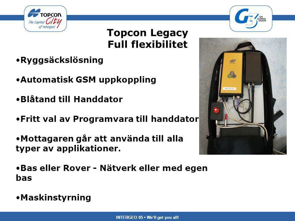 INTERGEO 05 We'll get you all! Topcon Legacy Full flexibilitet Ryggsäckslösning Automatisk GSM uppkoppling Blåtand till Handdator Fritt val av Program