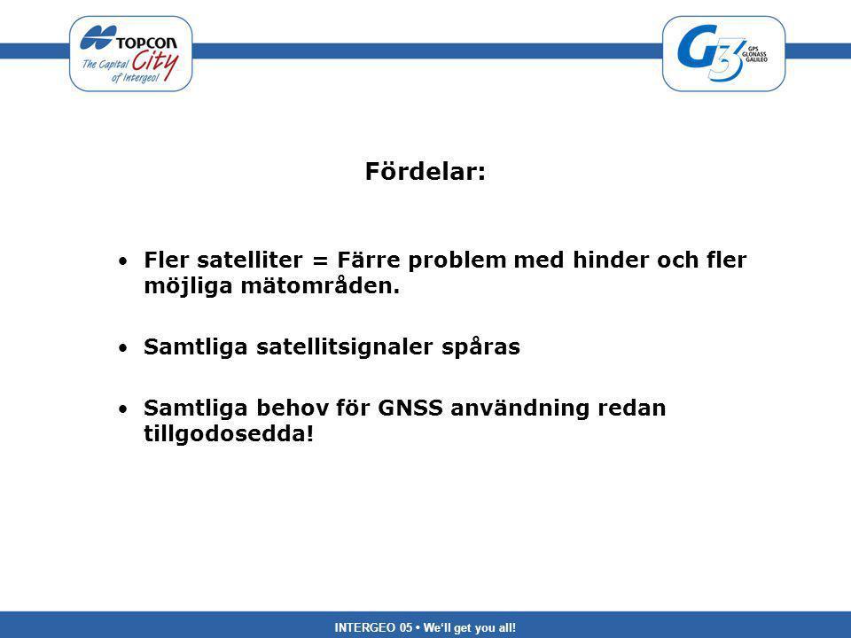 INTERGEO 05 We'll get you all! Fördelar: Fler satelliter = Färre problem med hinder och fler möjliga mätområden. Samtliga satellitsignaler spåras Samt