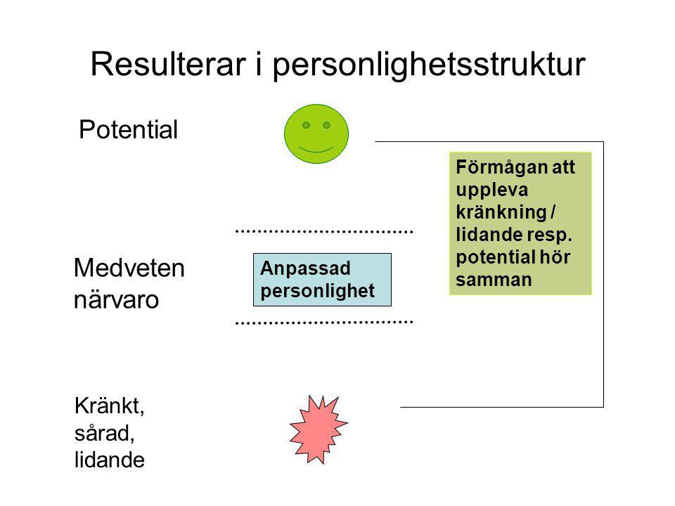 Resulterar i personlighetsstruktur Potential Kränkt, sårad, lidande Förmågan att uppleva kränkning / lidande resp.