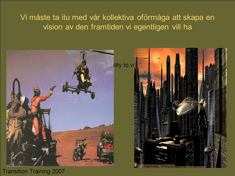 We need to address our collective inability to vision the future we actually want…. Transition Training 2007 Vi måste ta itu med vår kollektiva oförmå