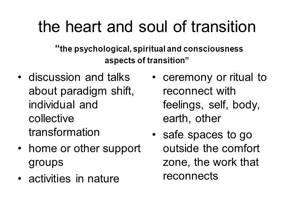 "the heart and soul of transition "" the psychological, spiritual and consciousness aspects of transition"" discussion and talks about paradigm shift, in"
