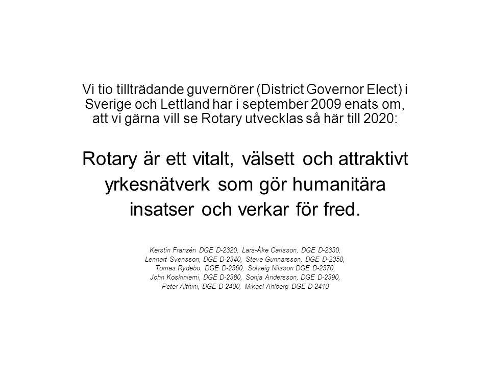 Vi tio tillträdande guvernörer (District Governor Elect) i Sverige och Lettland har i september 2009 enats om, att vi gärna vill se Rotary utvecklas s