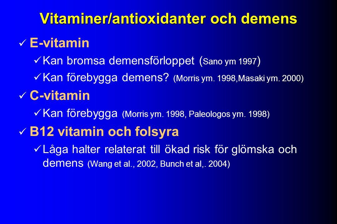 Vitaminer/antioxidanter och demens E-vitamin Kan bromsa demensförloppet ( Sano ym 1997 ) Kan förebygga demens.