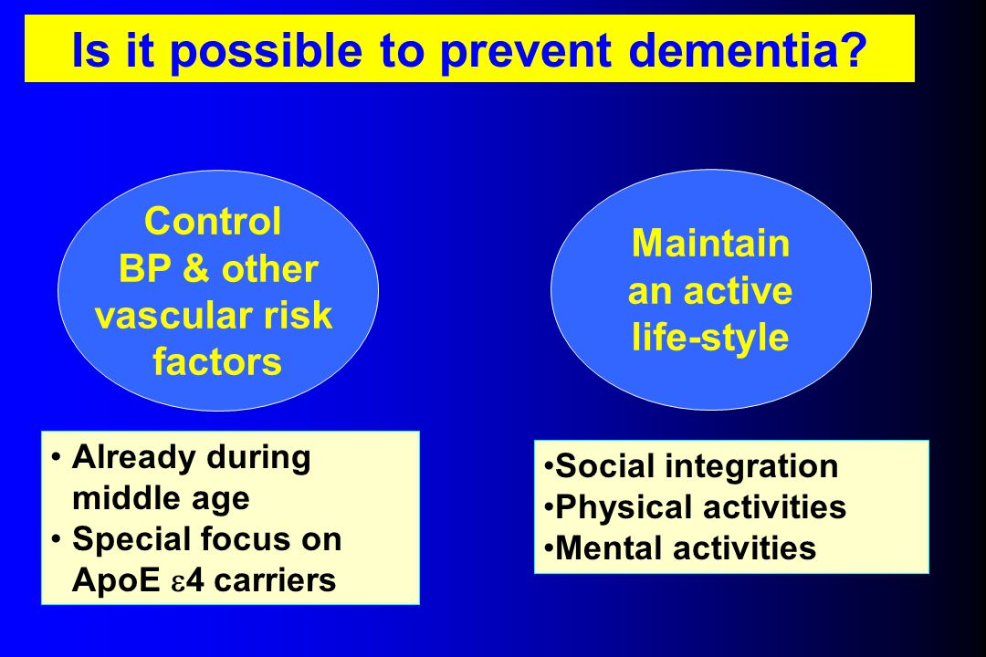 Is it possible to prevent dementia? Control BP & other vascular risk factors Already during middle age Special focus on ApoE  4 carriers Social integ