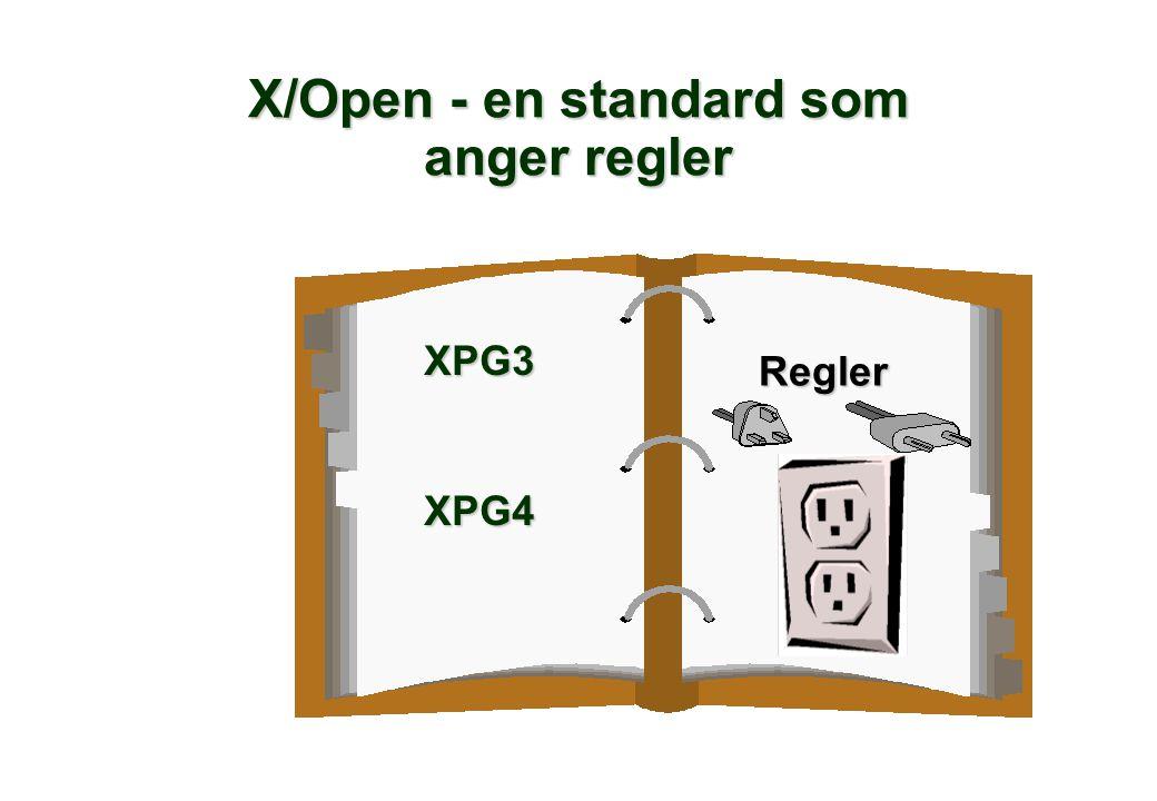 X/Open - en standard som anger regler XPG3XPG4 Regler