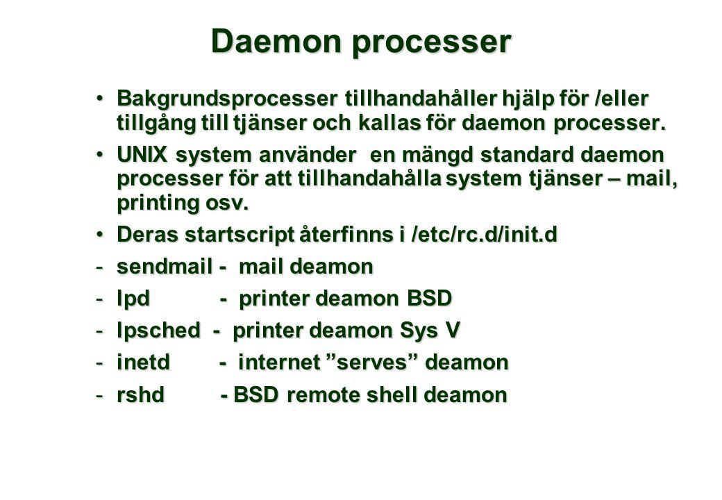 Daemon processer Bakgrundsprocesser tillhandahåller hjälp för /eller tillgång till tjänser och kallas för daemon processer.Bakgrundsprocesser tillhandahåller hjälp för /eller tillgång till tjänser och kallas för daemon processer.
