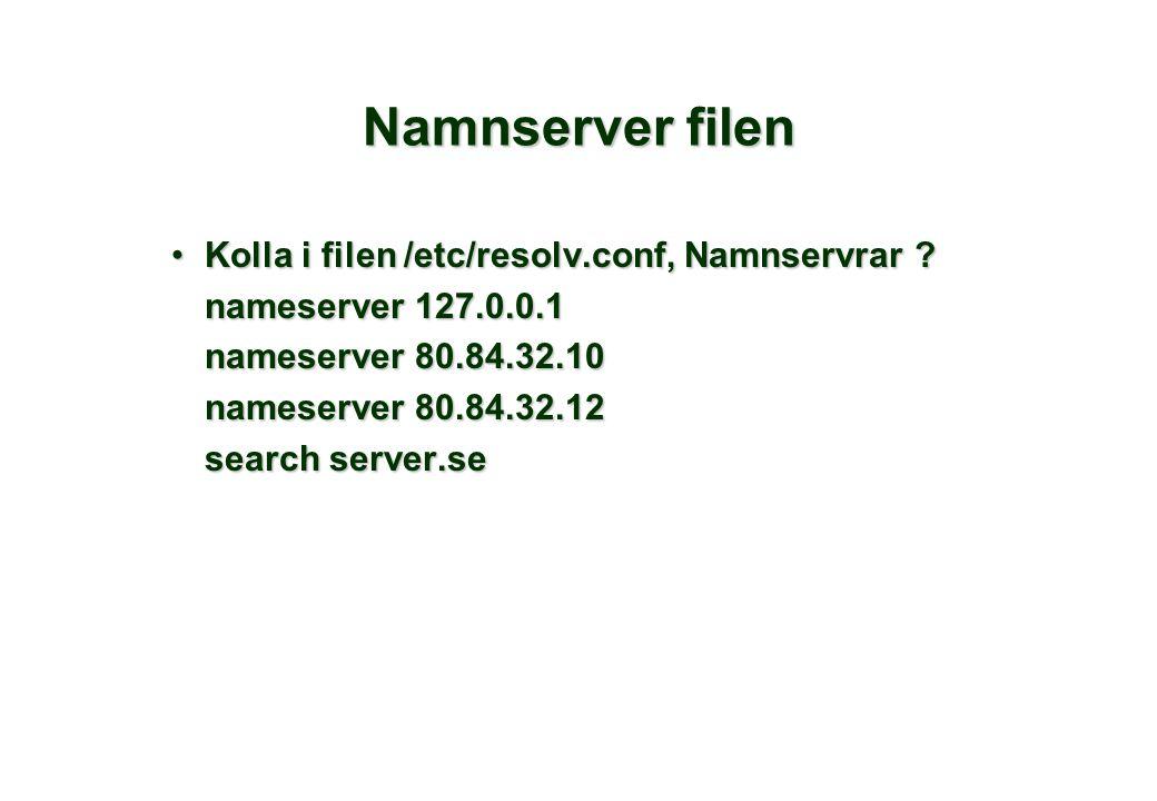 Namnserver filen Kolla i filen /etc/resolv.conf, Namnservrar ?Kolla i filen /etc/resolv.conf, Namnservrar .