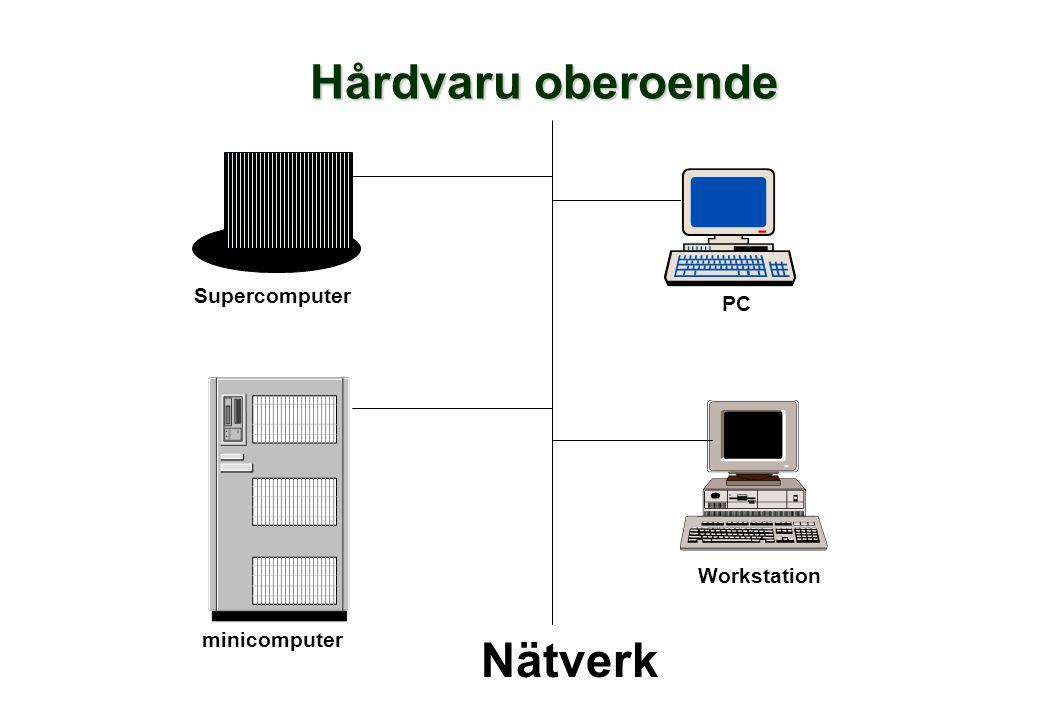 Hårdvaru oberoende PC Workstation Nätverk Supercomputer minicomputer