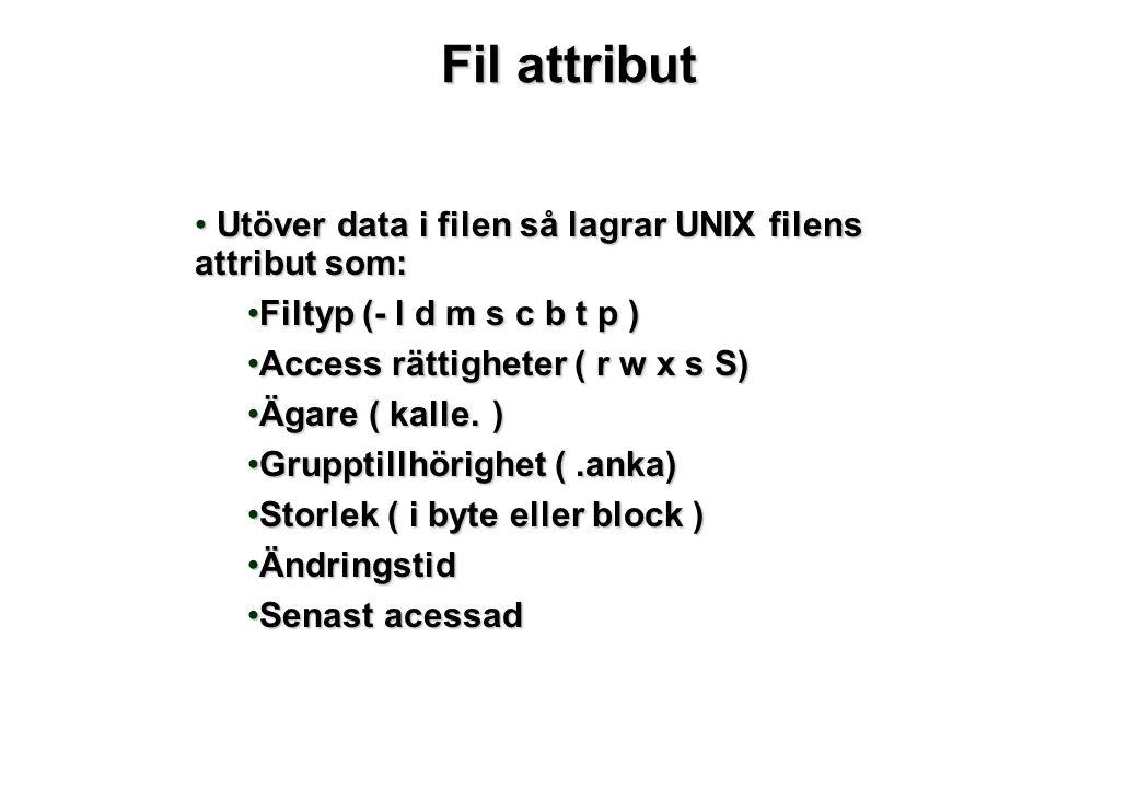 Fil attribut Utöver data i filen så lagrar UNIX filens attribut som: Utöver data i filen så lagrar UNIX filens attribut som: Filtyp (- l d m s c b t p )Filtyp (- l d m s c b t p ) Access rättigheter ( r w x s S)Access rättigheter ( r w x s S) Ägare ( kalle.)Ägare ( kalle.) Grupptillhörighet (.anka)Grupptillhörighet (.anka) Storlek ( i byte eller block )Storlek ( i byte eller block ) ÄndringstidÄndringstid Senast acessadSenast acessad