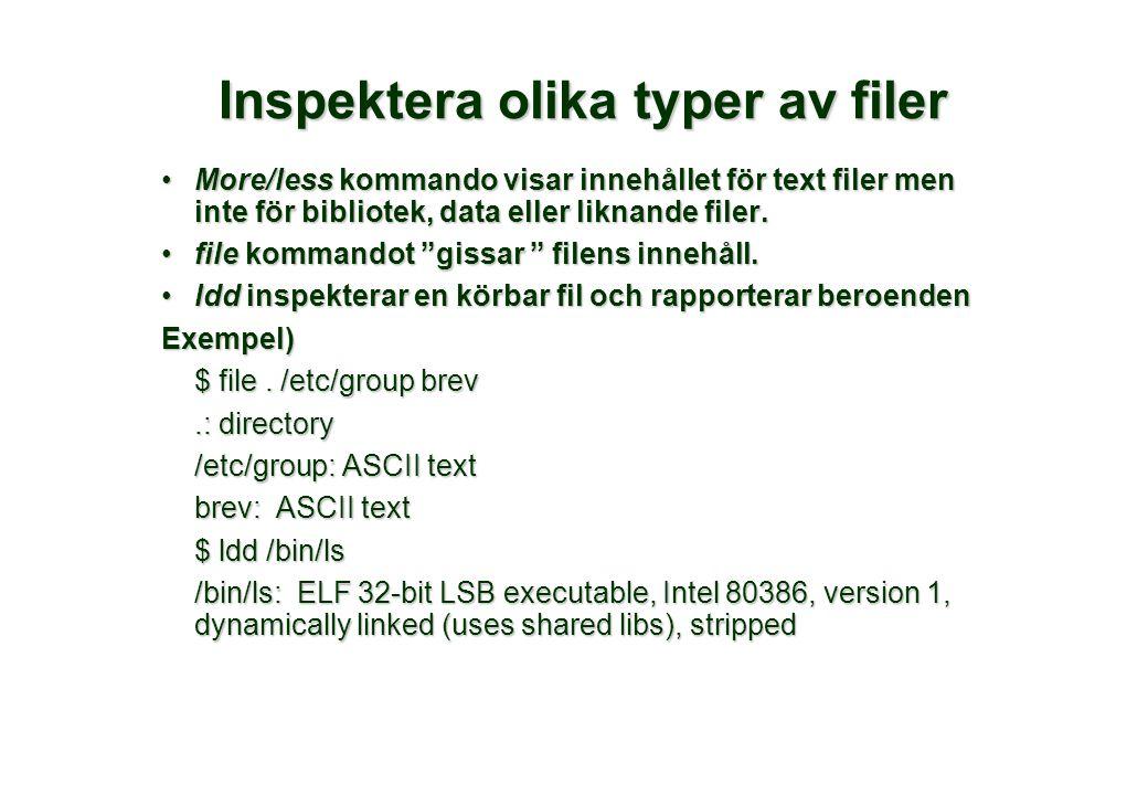 Inspektera olika typer av filer More/less kommando visar innehållet för text filer men inte för bibliotek, data eller liknande filer.More/less kommando visar innehållet för text filer men inte för bibliotek, data eller liknande filer.