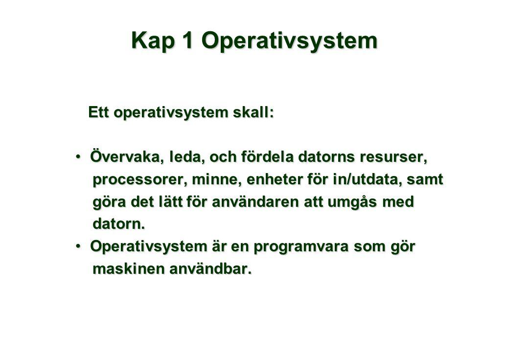 Kap 1 Operativsystem Ett operativsystem skall: Ett operativsystem skall: Övervaka, leda, och fördela datorns resurser,Övervaka, leda, och fördela datorns resurser, processorer, minne, enheter för in/utdata, samt processorer, minne, enheter för in/utdata, samt göra det lätt för användaren att umgås med göra det lätt för användaren att umgås med datorn.