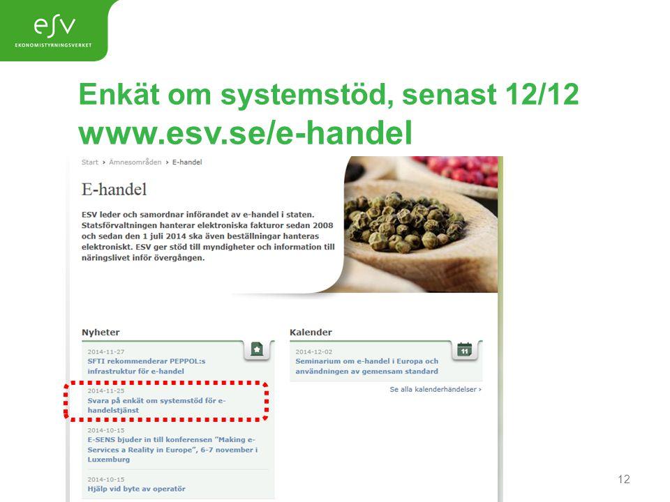 Enkät om systemstöd, senast 12/12 www.esv.se/e-handel 12