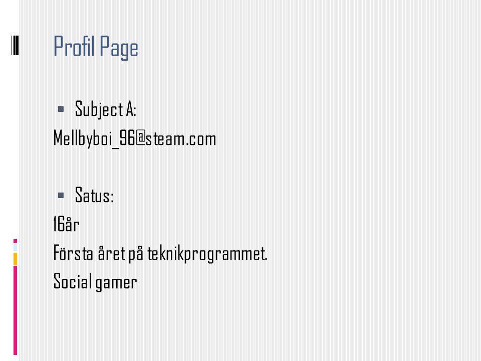 Profil Page  Subject A: Mellbyboi_96@steam.com  Satus: 16år Första året på teknikprogrammet. Social gamer