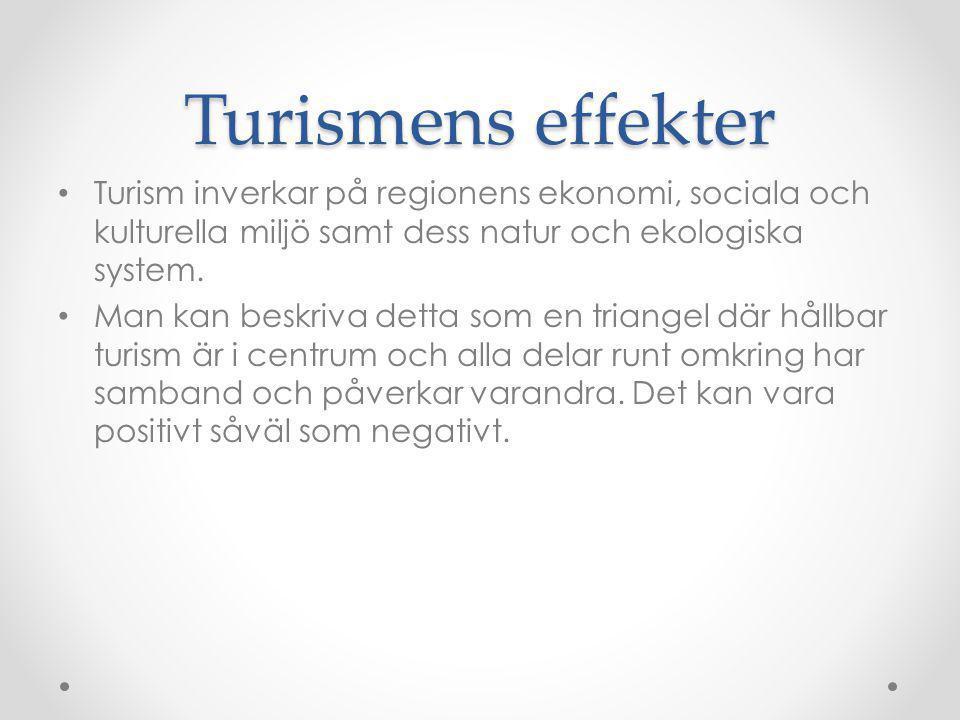 Turismens effekter Turism inverkar på regionens ekonomi, sociala och kulturella miljö samt dess natur och ekologiska system. Man kan beskriva detta so