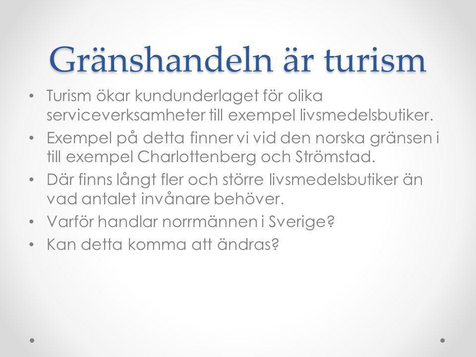 Gränshandeln är turism Turism ökar kundunderlaget för olika serviceverksamheter till exempel livsmedelsbutiker. Exempel på detta finner vi vid den nor