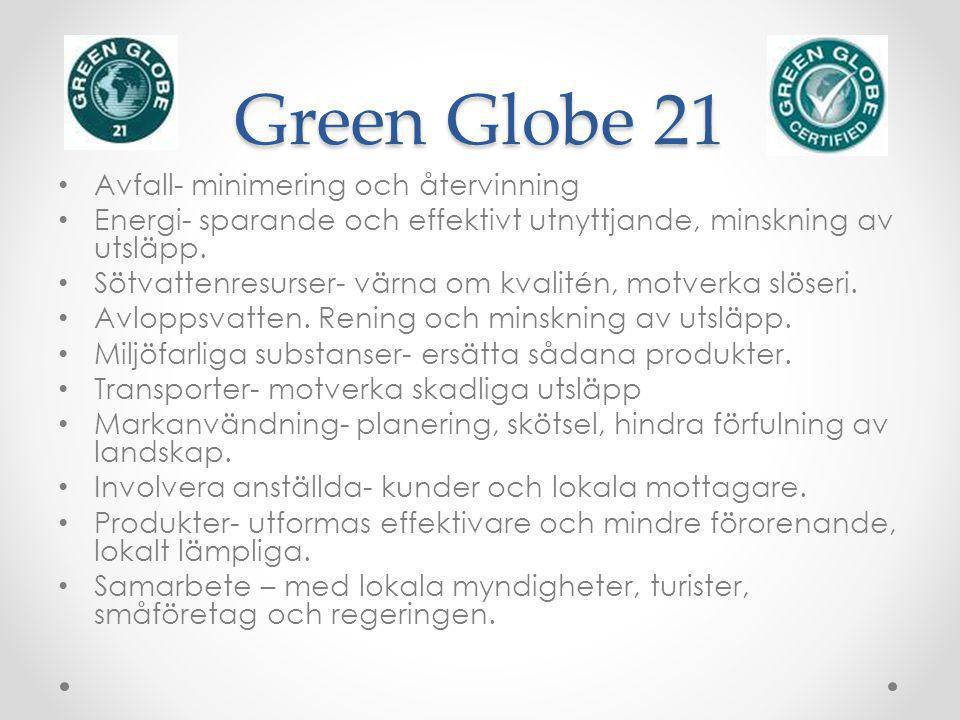 Green Globe 21 Avfall- minimering och återvinning Energi- sparande och effektivt utnyttjande, minskning av utsläpp. Sötvattenresurser- värna om kvalit