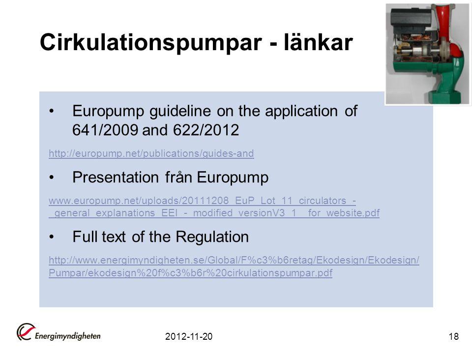 Cirkulationspumpar - länkar Europump guideline on the application of 641/2009 and 622/2012 http://europump.net/publications/guides-and Presentation fr