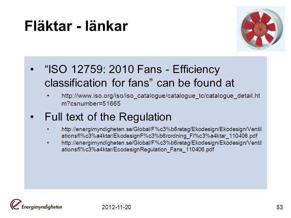 """Fläktar - länkar """"ISO 12759: 2010 Fans - Efficiency classification for fans"""" can be found at http://www.iso.org/iso/iso_catalogue/catalogue_tc/catalog"""