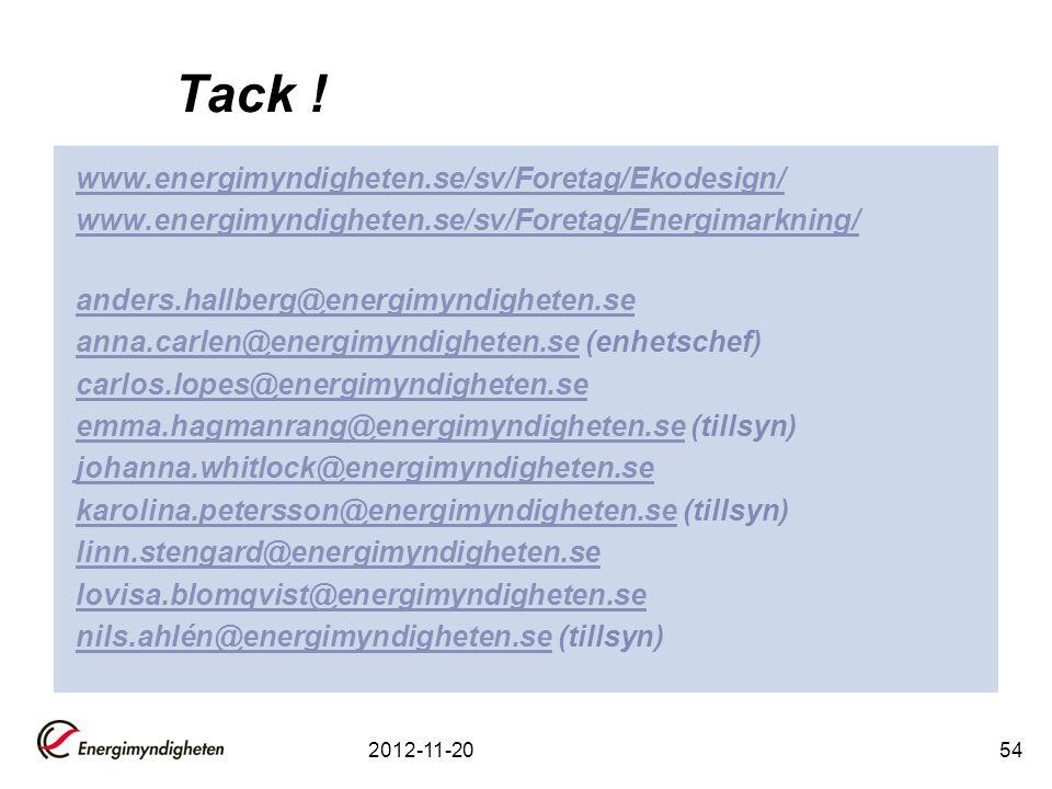 2012-11-2054 Tack ! www.energimyndigheten.se/sv/Foretag/Ekodesign/ www.energimyndigheten.se/sv/Foretag/Energimarkning/ anders.hallberg@energimyndighet