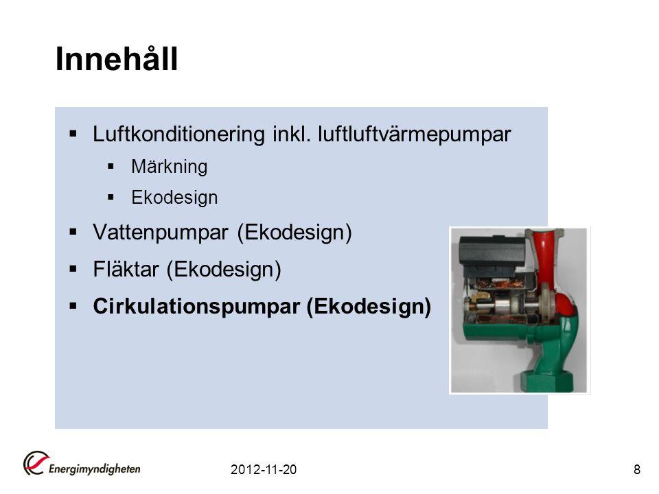 Innehåll  Luftkonditionering inkl. luftluftvärmepumpar  Märkning  Ekodesign  Vattenpumpar (Ekodesign)  Fläktar (Ekodesign)  Cirkulationspumpar (