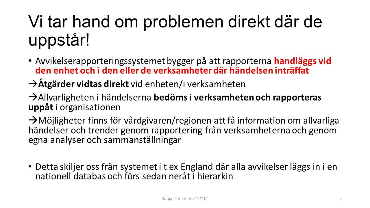 Vi tar hand om problemen direkt där de uppstår! Avvikelserapporteringssystemet bygger på att rapporterna handläggs vid den enhet och i den eller de ve