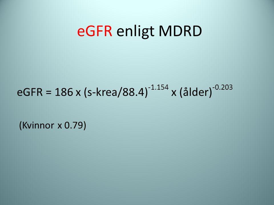 eGFR = 186 x (s-krea/88.4) -1.154 x (ålder) -0.203 (Kvinnor x 0.79) eGFR enligt MDRD