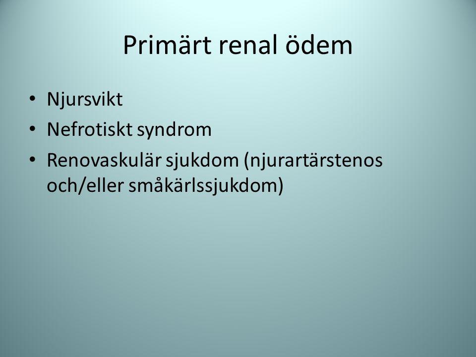 Sekundära renal ödem Hjärtsvikt (svag pump) Leversvikt (aldosteron) Lågt albumin ger inte av sig självt ödem!