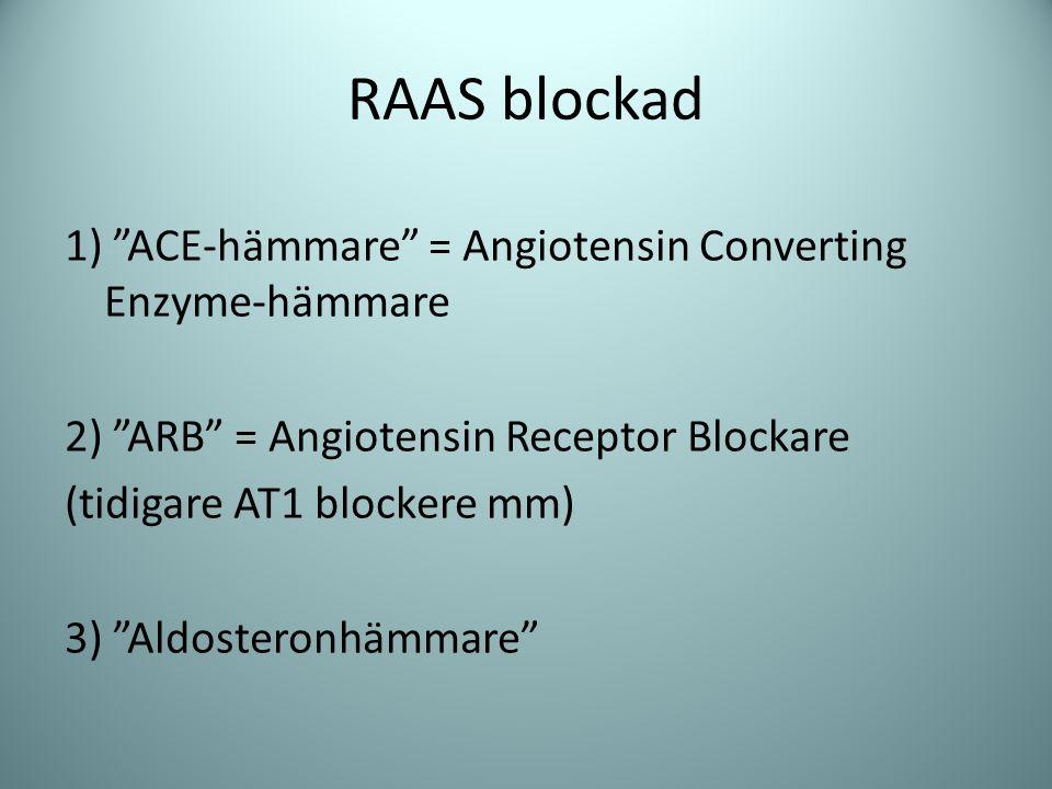 """RAAS blockad 1) """"ACE-hämmare"""" = Angiotensin Converting Enzyme-hämmare 2) """"ARB"""" = Angiotensin Receptor Blockare (tidigare AT1 blockere mm) 3) """"Aldoster"""