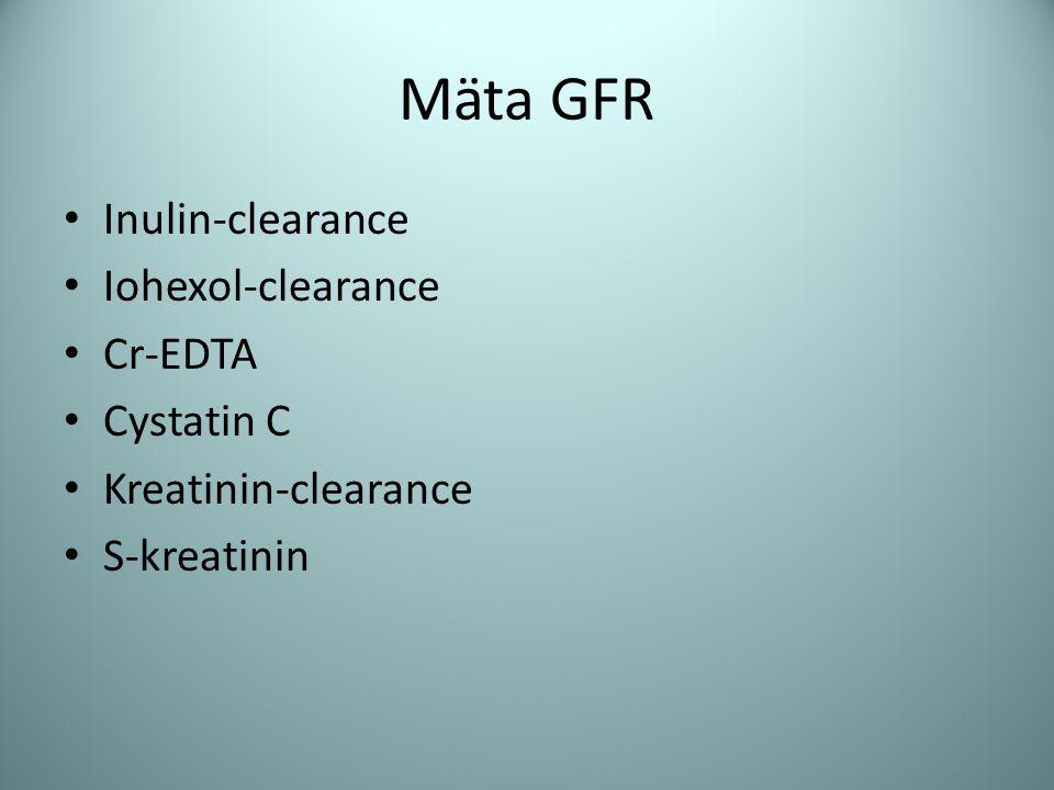 Mäta GFR Inulin-clearance Iohexol-clearance Cr-EDTA Cystatin C Kreatinin-clearance S-kreatinin