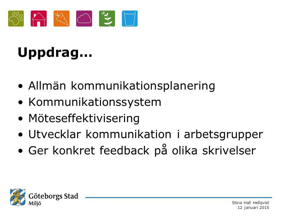 Stina Hall Hellqvist 12 januari 2015 Uppdrag… Allmän kommunikationsplanering Kommunikationssystem Möteseffektivisering Utvecklar kommunikation i arbetsgrupper Ger konkret feedback på olika skrivelser