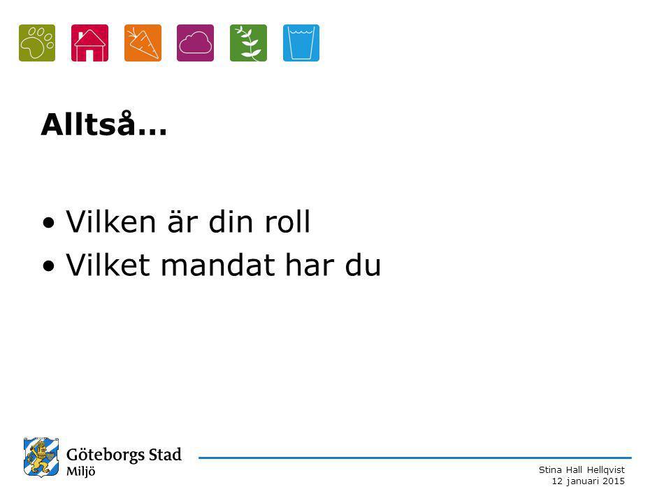 Stina Hall Hellqvist 12 januari 2015 Alltså… Vilken är din roll Vilket mandat har du