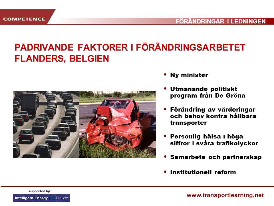 FÖRÄNDRINGAR I LEDNINGEN www.transportlearning.net PÅDRIVANDE FAKTORER I FÖRÄNDRINGSARBETET FLANDERS, BELGIEN Ny minister Utmanande politiskt program