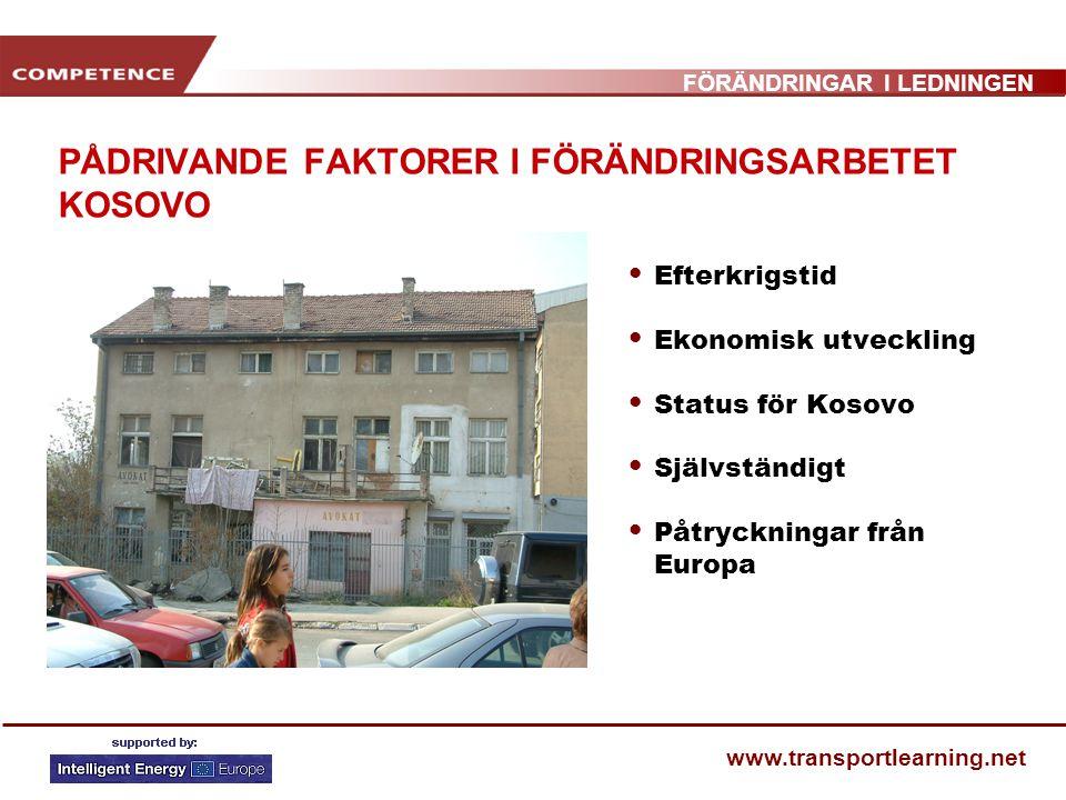 FÖRÄNDRINGAR I LEDNINGEN www.transportlearning.net PÅDRIVANDE FAKTORER I FÖRÄNDRINGSARBETET KOSOVO Efterkrigstid Ekonomisk utveckling Status för Kosov