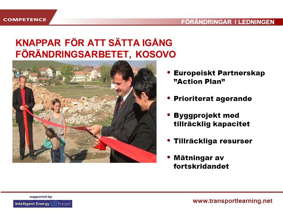 """FÖRÄNDRINGAR I LEDNINGEN www.transportlearning.net KNAPPAR FÖR ATT SÄTTA IGÅNG FÖRÄNDRINGSARBETET, KOSOVO Europeiskt Partnerskap """"Action Plan"""" Priorit"""