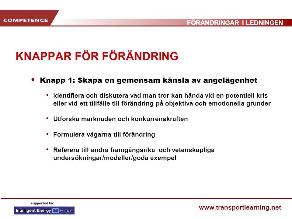FÖRÄNDRINGAR I LEDNINGEN www.transportlearning.net KNAPPAR FÖR FÖRÄNDRING Knapp 1: Skapa en gemensam känsla av angelägenhet Identifiera och diskutera