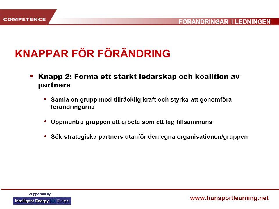 FÖRÄNDRINGAR I LEDNINGEN www.transportlearning.net KNAPPAR FÖR FÖRÄNDRING Knapp 2: Forma ett starkt ledarskap och koalition av partners Samla en grupp