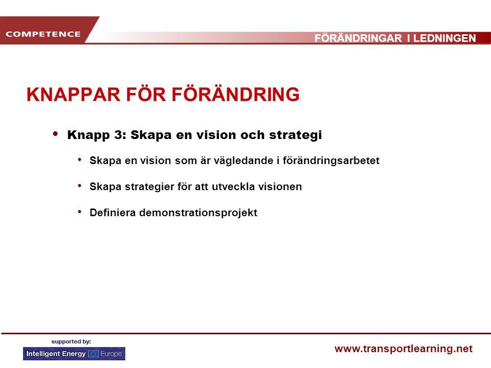 FÖRÄNDRINGAR I LEDNINGEN www.transportlearning.net KNAPPAR FÖR FÖRÄNDRING Knapp 3: Skapa en vision och strategi Skapa en vision som är vägledande i fö