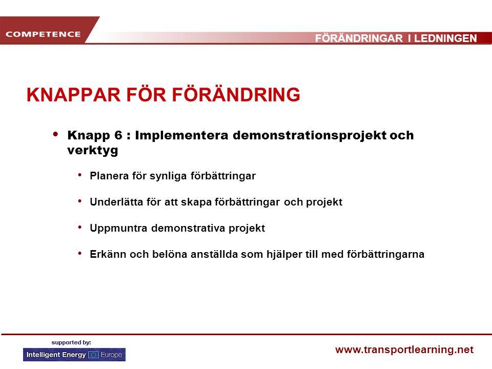 FÖRÄNDRINGAR I LEDNINGEN www.transportlearning.net KNAPPAR FÖR FÖRÄNDRING Knapp 6 : Implementera demonstrationsprojekt och verktyg Planera för synliga