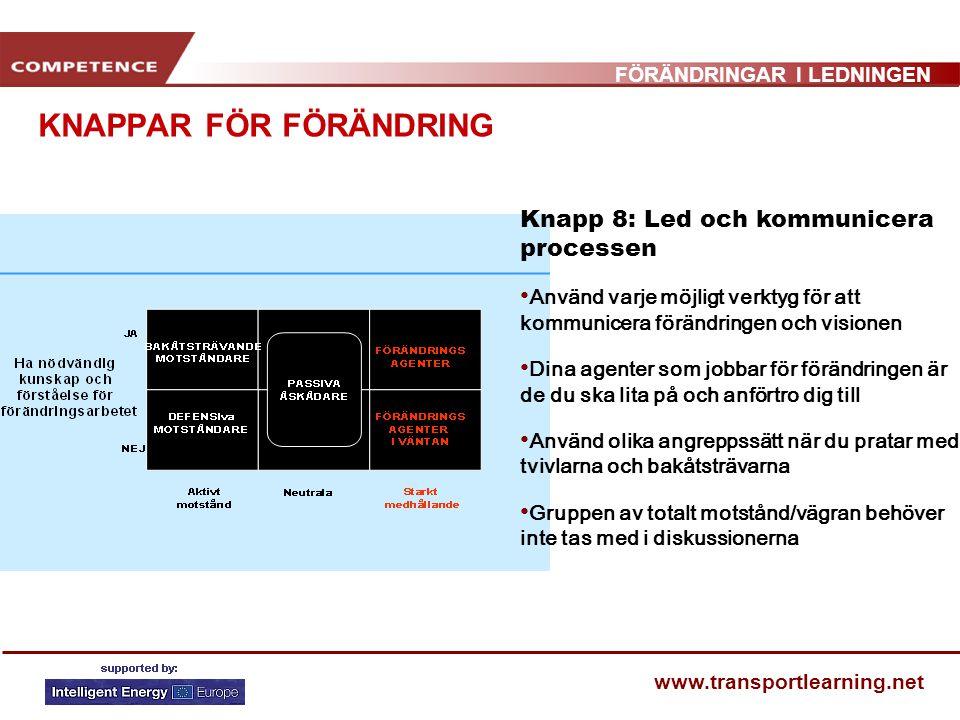 FÖRÄNDRINGAR I LEDNINGEN www.transportlearning.net KNAPPAR FÖR FÖRÄNDRING Knapp 8: Led och kommunicera processen Använd varje möjligt verktyg för att
