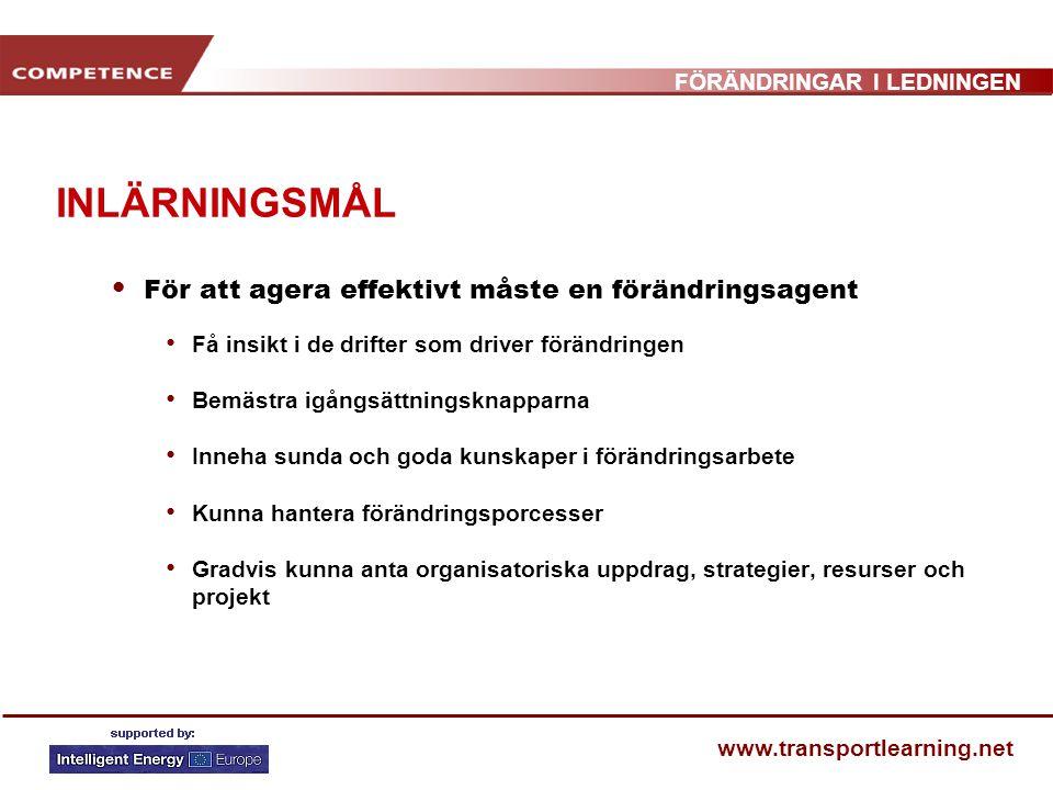 FÖRÄNDRINGAR I LEDNINGEN www.transportlearning.net KNAPPAR FÖR ATT SÄTTA IGÅNG FÖRÄNDRINGSARBETET MOBILITETSFRÅGOR I FLANDERS, BELGIEN Nya lagar och regleringar; avtalet om mobilitetsfrågor Försäkrade resurser för genomförande av demonstrationsprojekt Engagerade ledare och stark koalition av partners Specialgrupp för att styra och utvärdera fortskridandet Konsolidering av systemen Tilltalande nya program