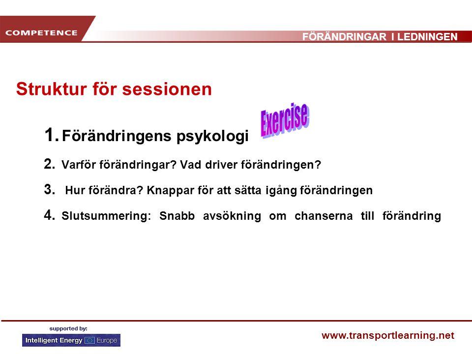 FÖRÄNDRINGAR I LEDNINGEN www.transportlearning.net PÅDRIVARE TILL FÖRÄNDRINGAR